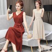 新款韓版小香風名媛V領休閒寬鬆顯瘦收腰氣質OL中長款無袖洋裝 DN14884『小美日記』