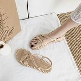平底涼鞋 網紅涼鞋女仙女風ins潮2021新款夏季學生時尚羅馬綁帶涼拖平底鞋 【618 大促】