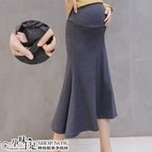 素面針織側開衩A字孕婦【腰圍可調】裙子 兩色 【CTH881902】孕味十足 孕婦裝