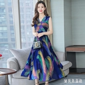 無袖碎花雪紡連身裙大碼氣質2020年夏裝新款韓版洋裝胖mm復古長裙潮 yu13881『寶貝兒童裝』