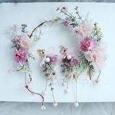 新年好禮 85折 新娘頭飾新款韓式森女系花環發箍耳環套裝~