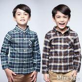 Mini Jule男童 上衣 經典格子單邊口袋長袖襯衫(共2色)