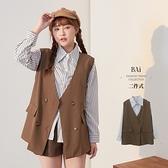 雙排釦西裝背心+直條襯衫兩件式-BAi白媽媽【310862】