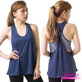 【南紡購物中心】【LOTUS】假兩件舒適包覆運動內衣背心-率性藍 AE784-BL
