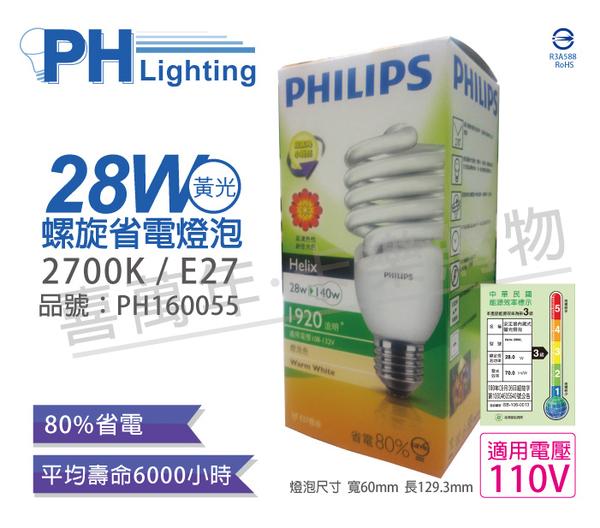 PHILIPS飛利浦 28W 827 2700K 黃光 E27 120V 麗晶 螺旋省電燈泡 _ PH160055