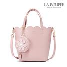 浪漫清新感小花朵吊飾水桶包, 可愛波浪花邊包緣,春天感十足, 內部小包可拆開當化妝包使用。