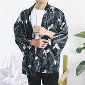 日系道袍和服開衫男 仙鶴印花雪紡襯衫羽織和風薄外套潮 【限時八五折】
