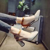 女士涼鞋女春2018新款韓版百搭時尚一字扣包頭粗跟高跟鞋羅馬鞋子 全館免運限時八折
