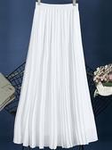 雪紡黑白色百褶半身裙春夏中長款高腰超仙女氣質垂感風琴褶皺