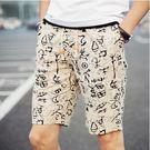 多款印染花色沙灘褲 米白 M-4XL碼【CM65025-1】