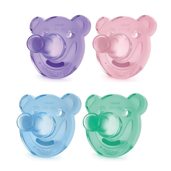 PHILIPS AVENT 新安怡 熊熊矽膠安撫奶嘴 3M+(2入)-藍綠/粉紫【佳兒園婦幼館】