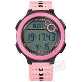 Disney 迪士尼 / MK-15042P / 米奇系列 運動記步 計時碼錶 兒童錶 卡通錶 電子 橡膠手錶 粉黑色 44mm