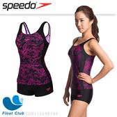 SPEEDO 女 運動兩截式平口泳裝 Boom AL 黑/粉