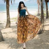 度假洋裝 波西米亞風夏裝吊帶抹胸連身裙孔雀印花大擺高腰雪紡度假長裙-炫科技