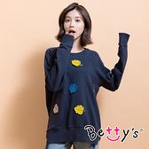 betty's貝蒂思 立體葉子繡線大學T恤(深藍)