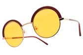 CARIN 太陽眼鏡 BENILA C3 (棕玫瑰金-橘鏡片) 韓星秀智代言 個性圓眉框款 墨鏡 # 金橘眼鏡