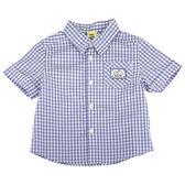 【愛的世界】純棉賽艇格紋短袖襯衫/2歲/4歲-台灣製- ★春夏上著 涼夏推薦