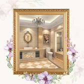 歐式實木粘貼浴室鏡子化妝梳妝洗手間廁所衛生間貼墻帶框免打孔 父親節降價