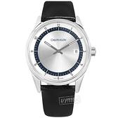 CK / KAM211C6 / 典藏品味 礦石強化玻璃 日期 瑞士製造 皮革手錶 銀色 43mm