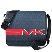 MICHAEL KORS 大款 滿版LOGO防刮皮革掀蓋斜背包 電腦包 書包(藍色)-37H8LMNM2V