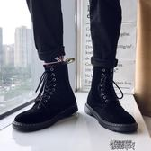 馬丁靴男高筒鞋潮百搭中筒短靴男生英倫風黑色高邦男靴子 街頭布衣