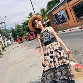 2018夏裝新款女裝韓版沙灘裙顯瘦露肩吊帶裙雪紡長裙碎花連身裙  良品鋪子