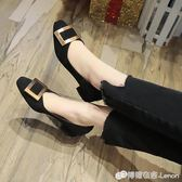 方頭平底單鞋女淺口低跟方扣粗跟奶奶鞋歐美矮跟上班工作鞋黑色 檸檬衣舍