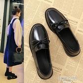 牛津鞋 小皮鞋女2021新款夏季黑色一腳蹬平底英倫風單鞋軟皮樂福鞋 【韓語空間】