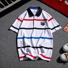 夏季新款條紋Polo衫男士休閒短袖T恤正韓潮流體恤男裝