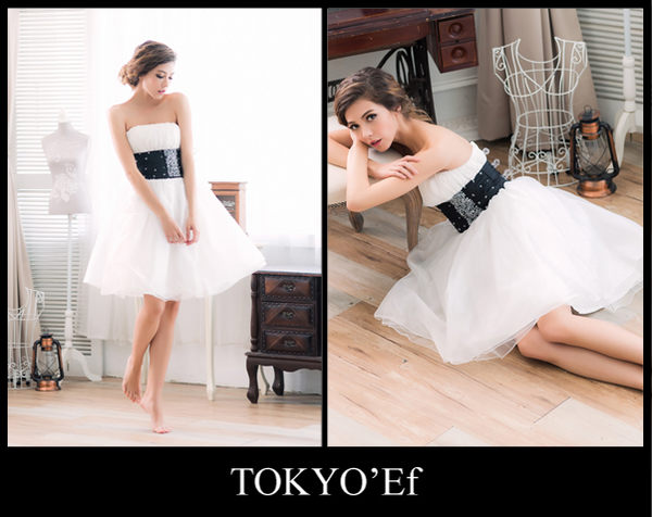 東京衣服 絕世名伶 銀河水晶鑽寬腰帶纖腰澎裙小禮服 白色