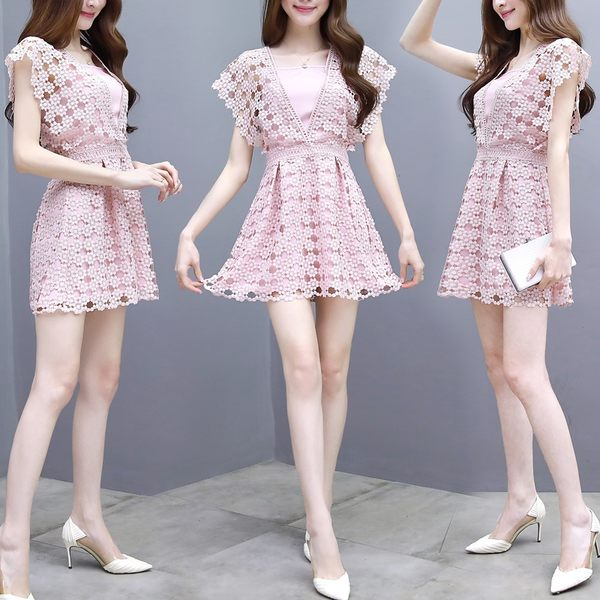 VK旗艦店 韓系鏤空蕾絲V領性感連身褲套裝無袖褲裝