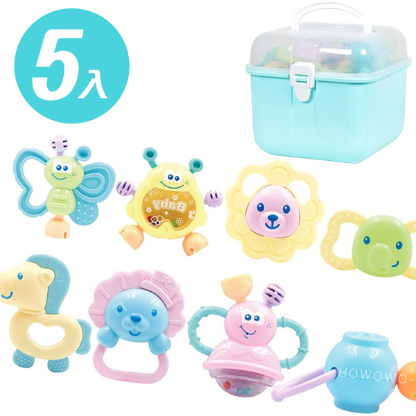 手搖鈴 (5入) 馬卡龍嬰兒搖鈴玩具禮盒 固齒器 安撫玩具 3172 好娃娃