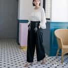 CANTWO日系腰綁帶設計寬褲-共兩色...
