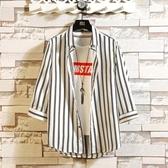 (快出)夏季冰絲短袖男七分袖襯衫韓版潮流條紋襯衣休閒條紋