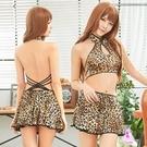 性感睡衣 豹紋透視柔紗美背二件式性感睡衣 愛的蔓延 NA18030036