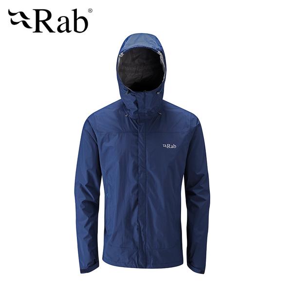 英國 RAB Downpour Jacket 高透氣連帽防水外套 男款 暮藍 #QWF61