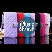 iPhone 6P / 6sPlus 菱線格子玫瑰花吊墜皮套 帶手繩 插卡 支架 側翻皮套 手機套 殼 保護套
