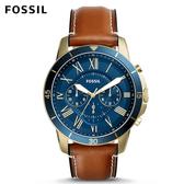 FOSSIL Grant Sport 咖啡色皮革手錶 男 FS5268