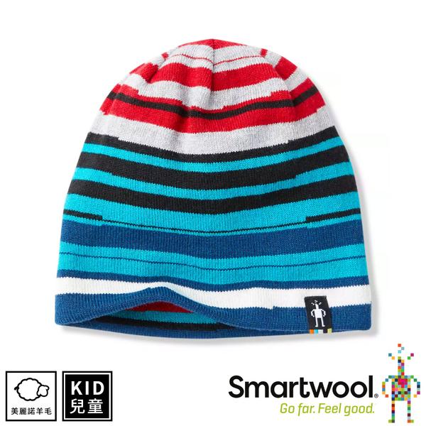 【SmartWool 美國 孩童雙面條紋圓帽《黑色》】SW000614/針織帽/毛線帽/羊毛帽