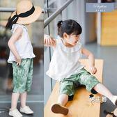 背心女童白色荷葉翻領娃娃衫無袖t恤棉質亞麻短袖t恤寶寶上衣服(好康618)