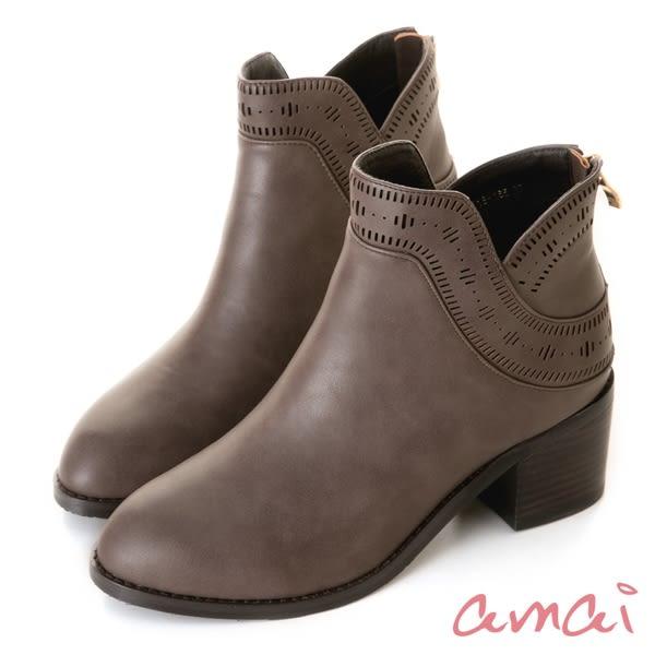 amai古典文藝圖騰粗跟短靴 灰