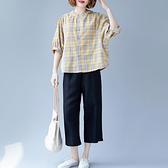 棉麻套裝 棉麻闊腿褲格子套裝2020夏季新款大碼女裝洋氣顯瘦亞麻短袖兩件套