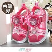 女童鞋 台灣製POLI正版安寶款閃燈護趾運動涼鞋 電燈鞋 魔法Baby