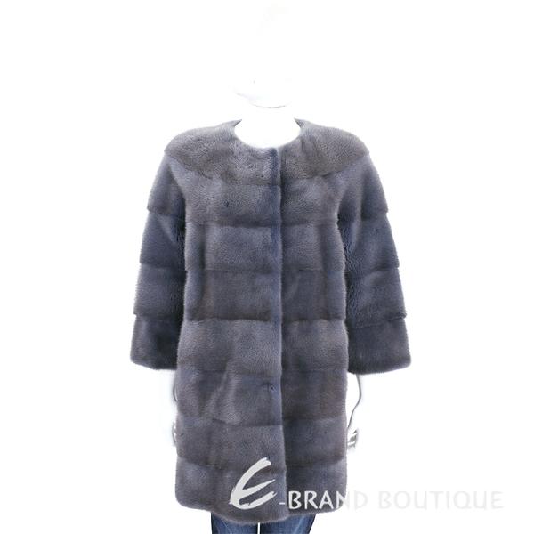 GRANDI furs 灰藍色七分袖皮草大衣 1710174-85
