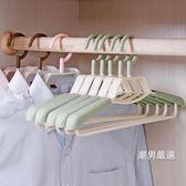 衣架 肩無痕衣架可伸縮衣架子家用防滑晾衣架掛衣鉤子衣服架衣撐掛衣架10隻裝