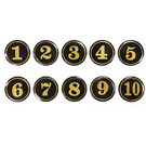 A1 5cm數字圓貼牌/黏牌/標示牌/桌牌 黑底金字 1~99
