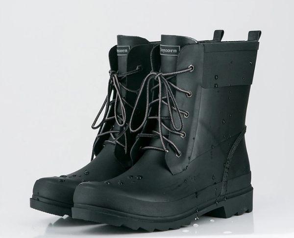 SINGLE單眼皮女孩 韓KOREA 時尚簡約復古風格綁帶造型釦橡膠防滑防臭吸汗雨鞋 小中大尺碼款