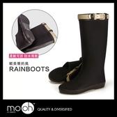 長筒雨靴 歐美英倫皮帶扣可折防水女雨靴 mo.oh (歐美鞋款)