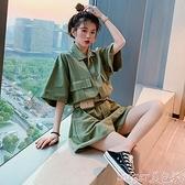 連體褲 2021夏季新款寬鬆顯瘦百搭休閒工裝短褲子女小個子顯高闊腿連體褲