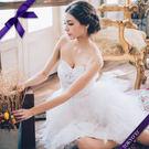 東京衣服 雪白天使 心型鑲邊水鑽層層澎裙小禮服 白